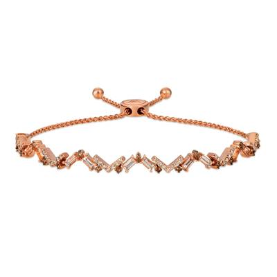 14K Strawberry Gold® Peach Morganite™ 1 cts. Bolo Bracelet with Chocolate Diamonds® 1/5 cts., Nude Diamonds 3/8 cts. | SVGW 72