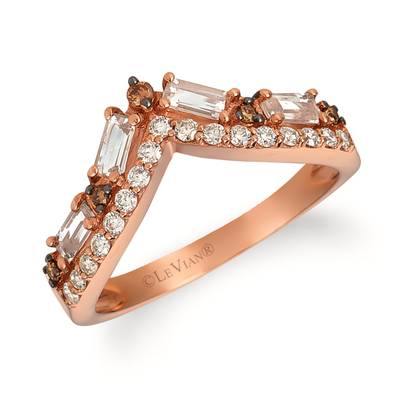 14K Strawberry Gold® Peach Morganite™ 1/3 cts. Ring with Chocolate Diamonds® 1/20 cts., Nude Diamonds 1/5 cts. | SVGW 73