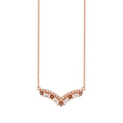 14K Strawberry Gold® Peach Morganite™ 1/3 cts. Necklace with Chocolate Diamonds® 1/20 cts., Nude Diamonds™ 1/6 cts. | SVGW 74