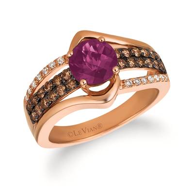 14K Strawberry Gold® Grape Amethyst™ 1 cts. Ring with Chocolate Diamonds® 3/8 cts., Vanilla Diamonds® 1/10 cts. | SVGW 78