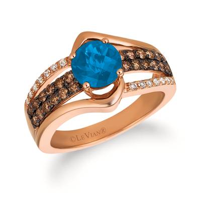 14K Strawberry Gold® Deep Sea Blue Topaz™ 1  3/8 cts. Ring with Chocolate Diamonds® 3/8 cts., Vanilla Diamonds® 1/10 cts. | SVGW 79