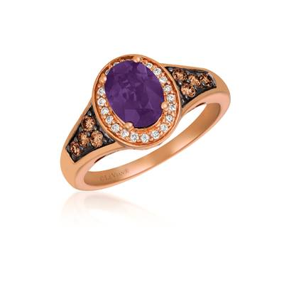 14K Strawberry Gold® Grape Amethyst™ 1 cts. Ring with Chocolate Diamonds® 1/5 cts., Vanilla Diamonds® 1/10 cts. | SVGW 82