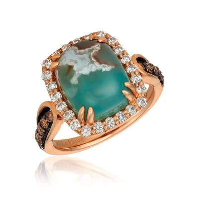 14K Strawberry Gold® Aquaprase Candy 6 cts. Ring with Chocolate Diamonds® 1/4 cts., Nude Diamonds 1/2 cts. | SVGX 1