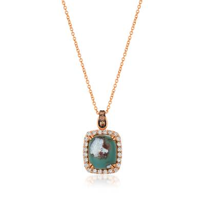 14K Strawberry Gold® Aquaprase Candy 6 cts. Pendant with Chocolate Diamonds® 1/15 cts., Nude Diamonds™ 1/2 cts. | SVGX 2