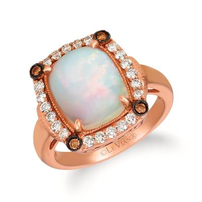 14K Strawberry Gold® Neopolitan Opal™ 2  7/8 cts. Ring with Chocolate Diamonds® 1/15 cts., Nude Diamonds™ 3/8 cts. | SVGX 30-070