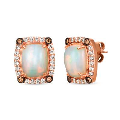 14K Strawberry Gold® Neopolitan Opal™ 3  1/5 cts. Earrings with Chocolate Diamonds® 1/8 cts., Nude Diamonds™ 1/2 cts. | SVGX 32