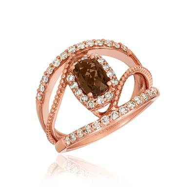14K Strawberry Gold® Chocolate Quartz® 3/4 cts. Ring with Nude Diamonds™ 5/8 cts. | SVGY 11