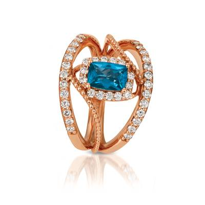 14K Strawberry Gold® Deep Sea Blue Topaz™ 7/8 cts. Ring with Nude Diamonds™ 5/8 cts. | SVGY 21