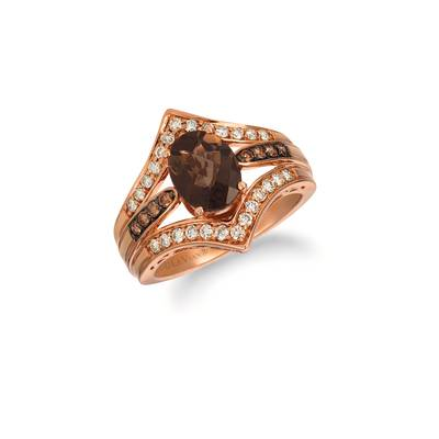 14K Strawberry Gold® Chocolate Quartz® 1  1/2 cts. Ring with Chocolate Diamonds® 1/8 cts., Nude Diamonds™ 1/3 cts. | SVGZ 10