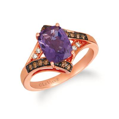 14K Strawberry Gold® Grape Amethyst™ 1  3/4 cts. Ring with Chocolate Diamonds® 1/6 cts., Nude Diamonds™ 1/20 cts. | SVGZ 107