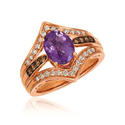 14K Strawberry Gold® Grape Amethyst™ 1  1/2 cts. Ring with Chocolate Diamonds® 1/8 cts., Nude Diamonds 1/3 cts. | SVGZ 108