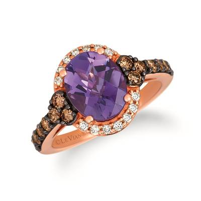 14K Strawberry Gold® Grape Amethyst™ 2 cts. Ring with Chocolate Diamonds® 1/2 cts., Nude Diamonds™ 1/8 cts. | SVGZ 120