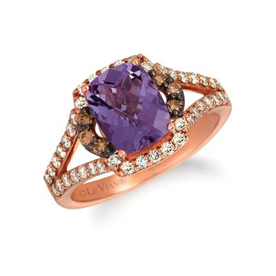 14K Strawberry Gold® Grape Amethyst™ 1  7/8 cts. Ring with Chocolate Diamonds® 1/8 cts., Nude Diamonds™ 1/2 cts. | SVGZ 127