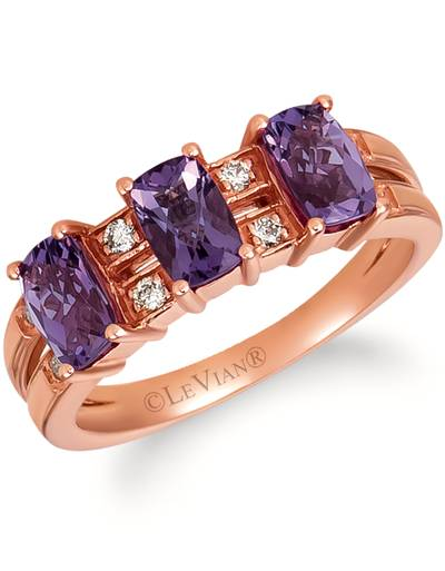 14K Strawberry Gold® Grape Amethyst™ 1  1/3 cts. Ring with Nude Diamonds™ 1/10 cts. | SVGZ 140