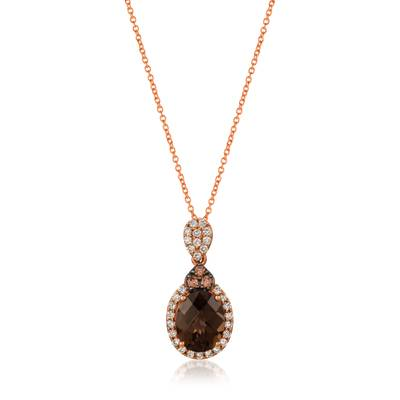 14K Strawberry Gold® Chocolate Quartz® 1  7/8 cts. Pendant with Chocolate Diamonds® 1/10 cts., Nude Diamonds 1/3 cts. | SVGZ 23