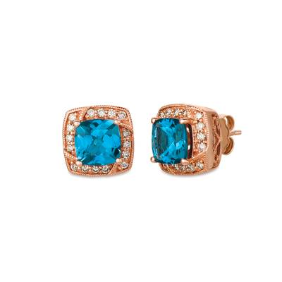 14K Strawberry Gold® Deep Sea Blue Topaz™ 3 cts. Earrings with Nude Diamonds™ 1/3 cts. | SVGZ 50