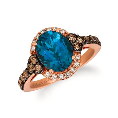 14K Strawberry Gold® Deep Sea Blue Topaz™ 2  1/2 cts. Ring with Chocolate Diamonds® 1/2 cts., Nude Diamonds™ 1/8 cts. | SVGZ 71