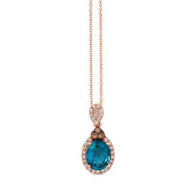 14K Strawberry Gold® Deep Sea Blue Topaz™ 2  1/2 cts. Pendant with Chocolate Diamonds® 1/10 cts., Nude Diamonds™ 1/3 cts. | SVGZ 72