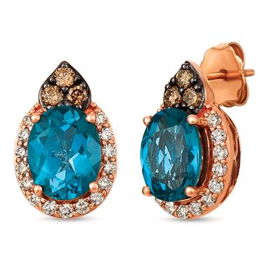 14K Strawberry Gold® Deep Sea Blue Topaz™ 3  3/4 cts. Earrings with Chocolate Diamonds® 1/5 cts., Nude Diamonds™ 1/3 cts. | SVGZ 73