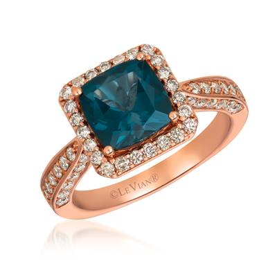 14K Strawberry Gold® Deep Sea Blue Topaz™ 2  1/5 cts. Ring with Nude Diamonds™ 3/4 cts. | SVHA 4