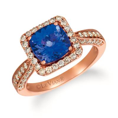 14K Strawberry Gold® Blueberry Tanzanite® 2 cts. Ring with Nude Diamonds™ 3/4 cts. | SVHA 7-070