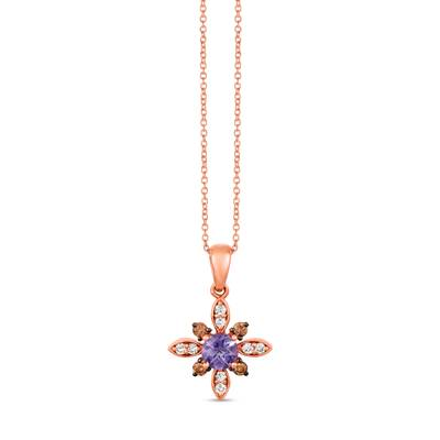 14K Strawberry Gold® Grape Amethyst™ 1/3 cts. Pendant with Chocolate Diamonds® 1/8 cts., Nude Diamonds™ 1/10 cts. | SVHB 45