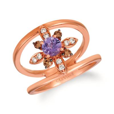14K Strawberry Gold® Grape Amethyst™ 1/3 cts. Ring with Chocolate Diamonds® 1/8 cts., Nude Diamonds 1/10 cts. | SVHB 46