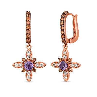 14K Strawberry Gold® Grape Amethyst™ 3/8 cts. Earrings with Chocolate Diamonds® 1/2 cts., Nude Diamonds™ 1/3 cts. | SVHB 47