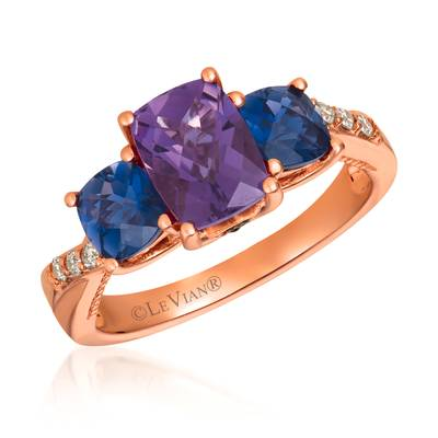14K Strawberry Gold® Grape Amethyst™ 1  1/5 cts., Iolite 7/8 cts. Ring with Chocolate Diamonds®  cts., Nude Diamonds 1/15 cts. | SVHE 25
