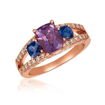 14K Strawberry Gold® Grape Amethyst™ 1  1/5 cts., Iolite 3/8 cts. Ring with Nude Diamonds™ 5/8 cts. | SVHE 31