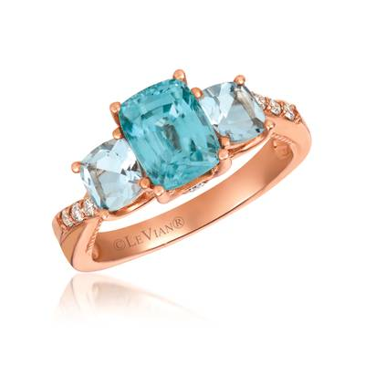 14K Strawberry Gold® Blueberry Zircon™ 1  5/8 cts., Sea Blue Aquamarine® 3/4 cts. Ring with Nude Diamonds™ 1/15 cts., Chocolate Diamonds®  cts. | SVHE 9
