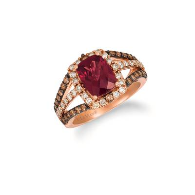 14K Strawberry Gold® Raspberry Rhodolite® 2  3/8 cts. Ring with Chocolate Diamonds® 3/8 cts., Nude Diamonds™ 3/8 cts. | SVHF 28