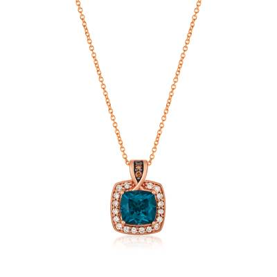 14K Strawberry Gold® Deep Sea Blue Topaz™ 2  1/5 cts. Pendant with Chocolate Diamonds®  cts., Nude Diamonds™ 1/4 cts. | SVHF 37