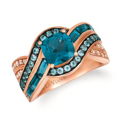 14K Strawberry Gold® Deep Sea Blue Topaz™ 2  1/6 cts., Blue Topaz 3/8 cts., White Sapphire 1/10 cts. Ring | SVHG 11