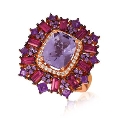14K Strawberry Gold® Grape Amethyst™ 3 cts., Raspberry Rhodolite® 1  1/2 cts., White Sapphire 1/6 cts. Ring | SVHG 2