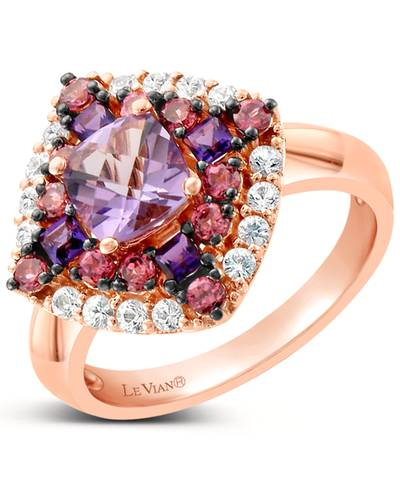 14K Strawberry Gold® Grape Amethyst™ 1 cts., Raspberry Rhodolite® 1/2 cts., White Sapphire 1/3 cts. Ring | SVHG 4