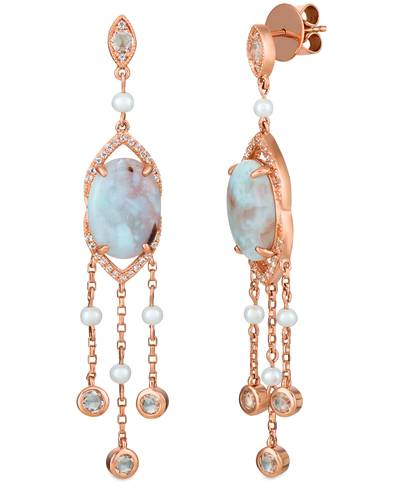 14K Strawberry Gold® Aquaprase Turquoise 6 cts., Vanilla Topaz™ 1 cts., Vanilla Pearls™  cts. Earrings | SVHJ 37
