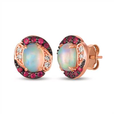 14K Strawberry Gold® Neopolitan Opal™ 7/8 cts., Passion Ruby™ 1/4 cts. Earrings with Nude Diamonds™ 1/15 cts. | SVHK 33