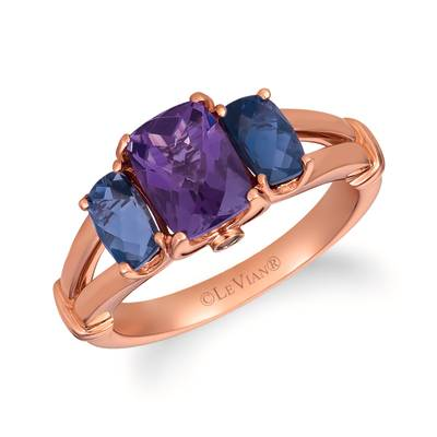 14K Strawberry Gold® Grape Amethyst™ 1  1/5 cts., Iolite 7/8 cts. Ring with Chocolate Diamonds®  cts. | SVHM 4