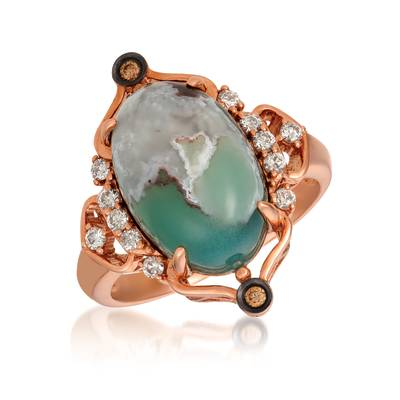 14K Strawberry Gold® Aquaprase Candy 7  1/5 cts., Vanilla Topaz™ 1/5 cts., Chocolate Quartz®  cts. Ring | SVHM 54