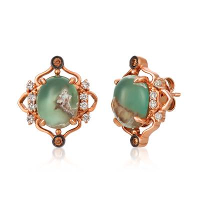 14K Strawberry Gold® Aquaprase Candy 5 cts., Chocolate Quartz® 1/20 cts., Vanilla Topaz™ 1/4 cts. Earrings | SVHM 56