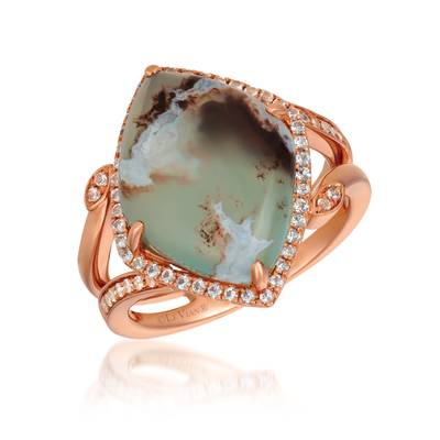 14K Strawberry Gold® Aquaprase Candy 7  1/5 cts., Vanilla Topaz™ 1/3 cts. Ring | SVHM 57
