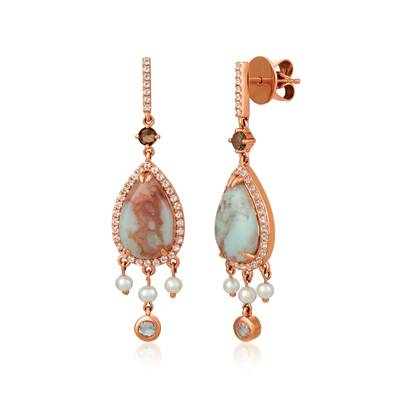 14K Strawberry Gold® Aquaprase Turquoise 5  1/5 cts., Vanilla Topaz™ 7/8 cts., Chocolate Quartz® 1/6 cts., Vanilla Pearls™  cts. Earrings | SVHM 60