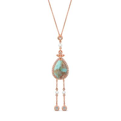 14K Strawberry Gold® Aquaprase Turquoise 3  7/8 cts., Vanilla Topaz™ 1/2 cts., Vanilla Pearls™  cts. Pendant | SVHM 64