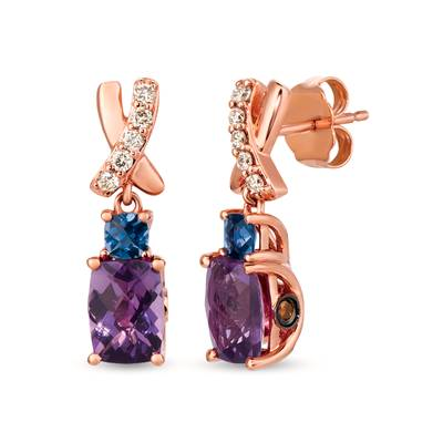 14K Strawberry Gold® Grape Amethyst™ 1  3/4 cts., Iolite 1/5 cts. Earrings with Chocolate Diamonds® 1/15 cts., Nude Diamonds 1/8 cts. | SVHM 81