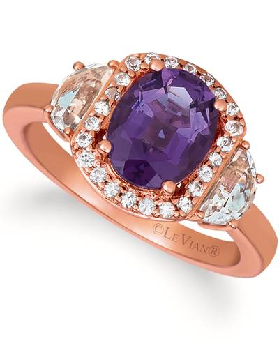 14K Strawberry Gold® Grape Amethyst™ 1  5/8 cts., Vanilla Topaz™ 5/8 cts., White Sapphire 1/5 cts. Ring | SVHR 16