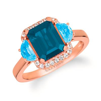 14K Strawberry Gold® Deep Sea Blue Topaz™ 2  5/8 cts., Blue Topaz 5/8 cts., White Sapphire 1/8 cts. Ring | SVHR 29