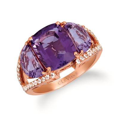 14K Strawberry Gold® Grape Amethyst™ 5  1/6 cts., White Sapphire 1/3 cts. Ring | SVHS 5
