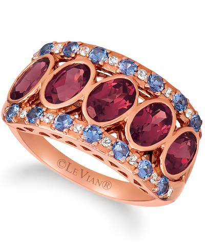 14K Strawberry Gold® Raspberry Rhodolite® 2  1/2 cts., Blueberry Tanzanite® 3/8 cts., White Sapphire 1/8 cts. Ring | SVHT 12