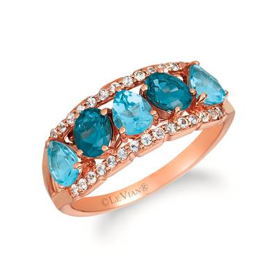 14K Strawberry Gold® Deep Sea Blue Topaz™ 3/4 cts., Blue Topaz 1 cts., White Sapphire 1/4 cts. Ring | SVHT 20